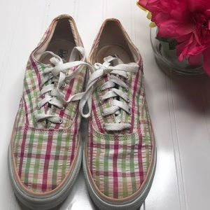 Sperry pink green plaid Top Sider - Sz 8M